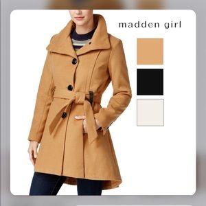 Madden Girl Belted Skirted Coat Camel Size L
